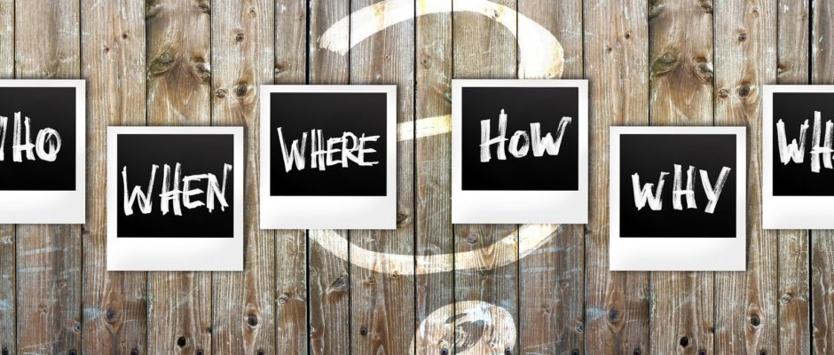 instant photos with the words who, what, why, when, where, and how on wooden background