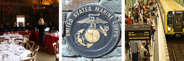 three images consisting of restaurant, US Marine Corps plaque, and train arriving with crowded platform