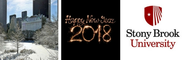 three images of New York Plaza Hotel, sparkling Happy New Year 2018, and Stony brook University logo