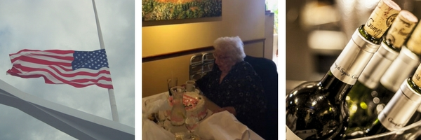 three images consisting of American flag at half mast, Joe Campolo's grandmother with birthday cake, and wine bottle stems with exposed corks