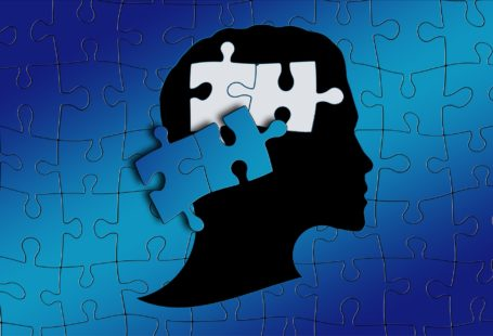 blue puzzle pieces with silhouette