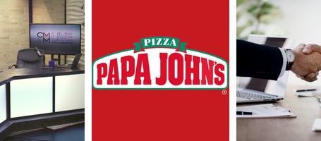 3 grid image of CMM Live set, Papa John's logo, and 2 hands shaking