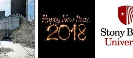 three images of New York Plaza Hotel, sparkling Happy New Year 2018, and Stony brook University logo